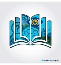 open book symbol education concept vector image