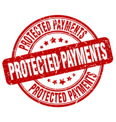 protected payments red grunge stamp vector image