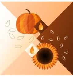 pumpkin and sunflower vector image