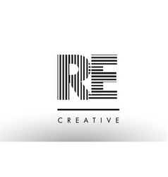 Re r e black and white lines letter logo design vector