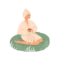relaxed young woman resting with tea in spa vector image