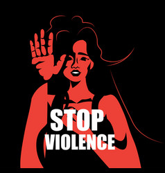 Scared terrified woman stop violence vector