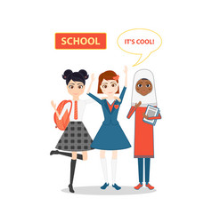 Schoolgirl character cartoon flat vector