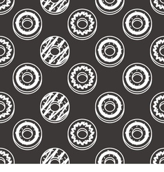 Seamless Pattern Black And White Donuts Background vector image