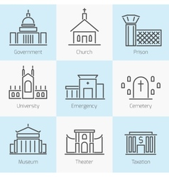 Set government buildings icons vector