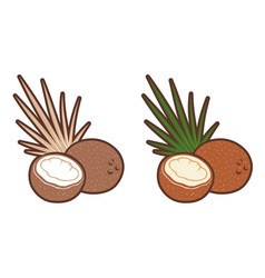 set icons of coconut with palm leaf retro vector image