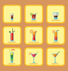 set of alcoholic cocktails cards fruit cold drinks vector image