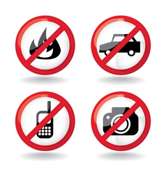 set of do not allowed symbols vector image