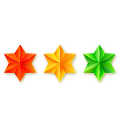 set of icons of faceted stars realistic three vector image