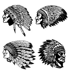 Set of native american heads in headdress design vector