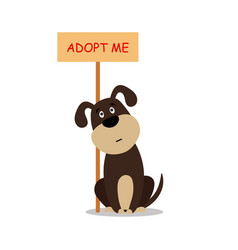 sitting dog with a poster adopt me dont buy - vector image