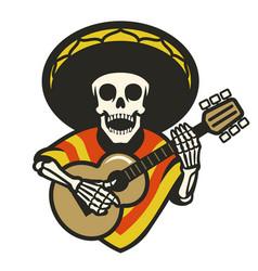 skull wearing sombrero playing guitar vector image