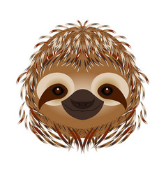 sloth head face portrait beige fur cartoon style vector image