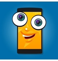 smart phone mobile big eyes character cartoon vector image