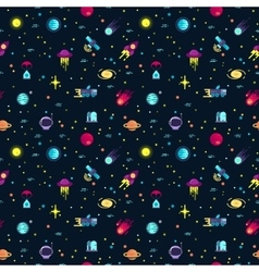 Space seamless pattern with planets and vector