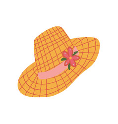 straw hat with ribbon and flower summer travel vector image