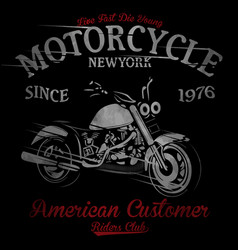 T-shirt print with motorcycle on dark background vector