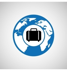 Traveling world suitcase design graphic vector