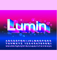 trendy neon glowing letters on the bright vector image
