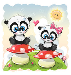 Two cartoon pandas are sitting on mushrooms vector