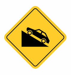uphill traffic sign vector image