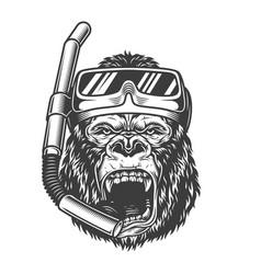 Vintage monochrome angry gorilla vector