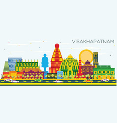 Visakhapatnam india city skyline with color vector