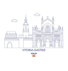 vitoria-gasteiz city skyline vector image