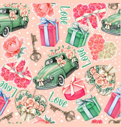 wedding pink watercolor pattern cars roses and vector image
