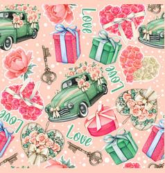 wedding pink watercolor pattern cars roses vector image