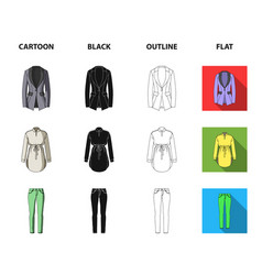 women clothing cartoonblackoutlineflat icons in vector image