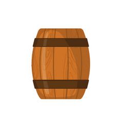 Wooden barrel icon in flat style isolated on white vector