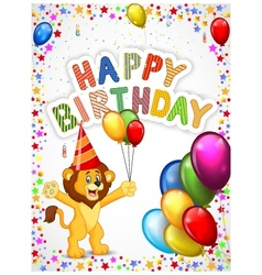 Birthday background with happy lion vector image