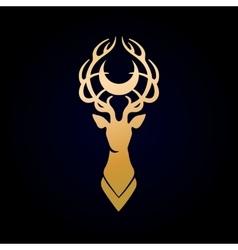 Deer silhouette and moon vector