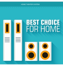 Flat home theater system on the background with vector image