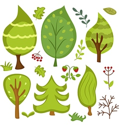 Forest elements vector image vector image