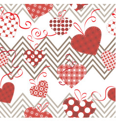 hearts and zigzags vector image