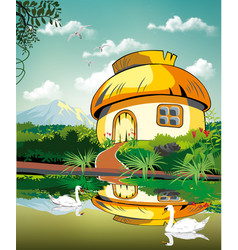 realistic landscape-hut at the pond with swans vector image vector image