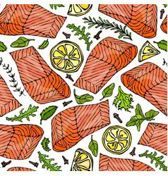 seamless pattern of salmon fillet lemon vector image vector image