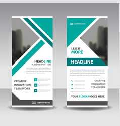 green triangle business roll up banner flat design vector image