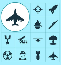 Combat icons set collection of chopper rocket vector
