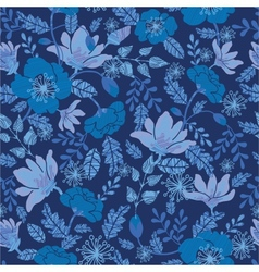 Dark night flowers seamless pattern background vector image
