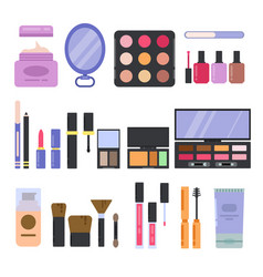 different perfume and cosmetics set makeup vector image