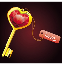 golden key with diamond heart with label vector image