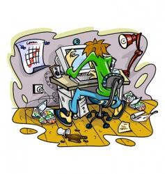 Hacker working on computer vector