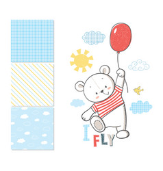 little bear is flying in a balloon vector image vector image
