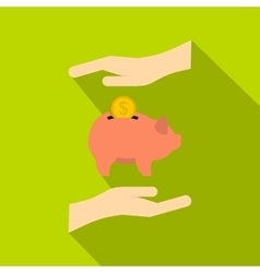 Piggy bank and hands icon flat style vector image vector image