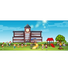 Children playing at the school yard vector image vector image