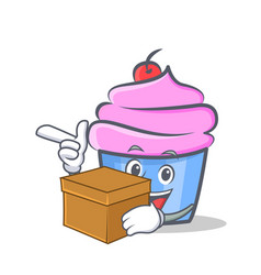 cupcake character cartoon style with box vector image vector image