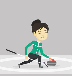 curling player playing curling on curling rink vector image vector image